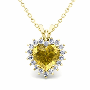 Heart Yellow Sapphire and Diamond Necklace in 18k Gold Pendant