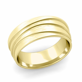 Wave Comfort Fit Wedding Ring in 18k Gold Brushed Finish Band, 8mm