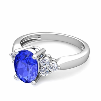 Three Stone Diamond and Ceylon Sapphire Engagement Ring in 14k Gold, 7x5mm