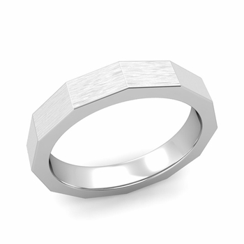 Square Comfort Fit Wedding Ring in 14k Gold Matte Brushed Finish Band, 4mm