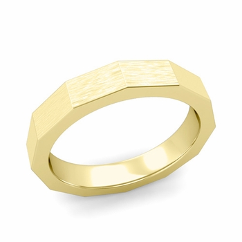 Square Comfort Fit Wedding Ring in 18k Gold Matte Brushed Finish Band, 4mm