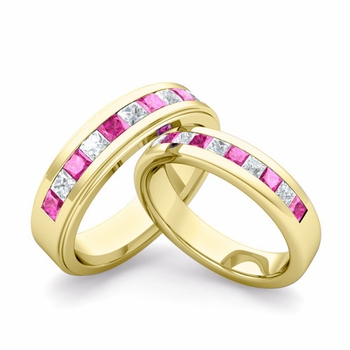 Matching Wedding Band in 18k Gold Princess Cut Diamond Pink Sapphire Ring