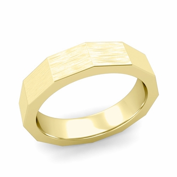 Square Comfort Fit Wedding Ring in 18k Gold Matte Brushed Finish Band, 5mm