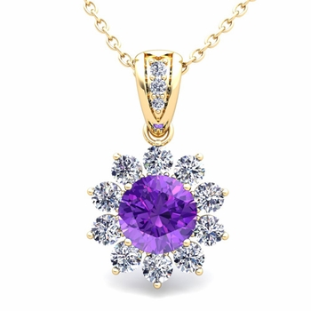 Halo Diamond and Amethyst Pendant in 18k Gold Necklace 6mm