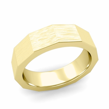 Square Comfort Fit Wedding Ring in 18k Gold Matte Brushed Finish Band, 6mm
