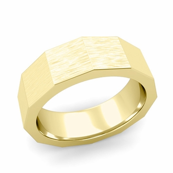 Square Comfort Fit Wedding Ring in 18k Gold Matte Brushed Finish Band, 7mm