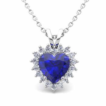 Heart Sapphire and Diamond Necklace in 14k Gold Pendant