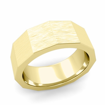 Square Comfort Fit Wedding Ring in 18k Gold Matte Brushed Finish Band, 8mm