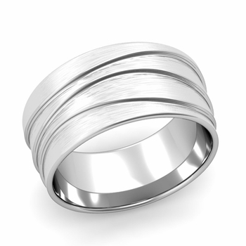 Wave Comfort Fit Wedding Ring in Platinum Brushed Finish Band, 10mm