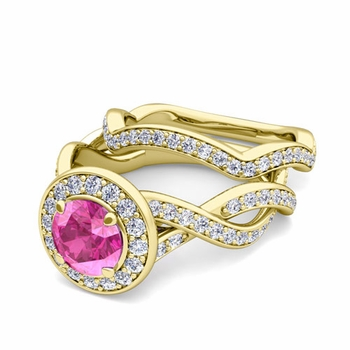 Infinity Diamond and Pink Sapphire Engagement Ring Bridal Set in 18k Gold, 7mm