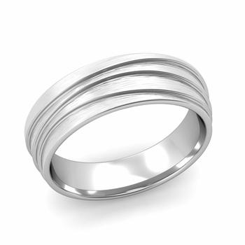 Wave Comfort Fit Wedding Ring in Platinum Brushed Finish Band, 6mm