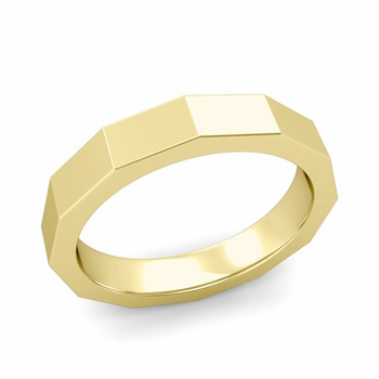 Square Comfort Fit Wedding Ring in 18k Gold Polished Finish Band, 4mm