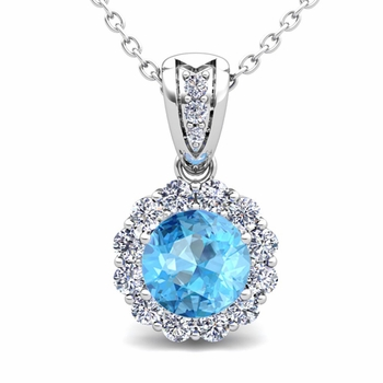 Diamond and Blue Topaz Pendant in 14k Gold Halo Necklace 6mm