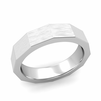Square Comfort Fit Wedding Ring in Platinum Matte Brushed Finish Band, 5mm