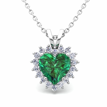 Heart Emerald and Diamond Necklace in 14k Gold Pendant