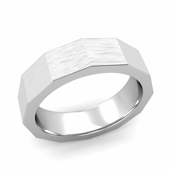 Square Comfort Fit Wedding Ring in Platinum Matte Brushed Finish Band, 6mm