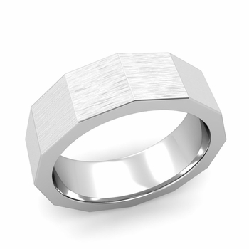 Square Comfort Fit Wedding Ring in Platinum Matte Brushed Finish Band, 7mm