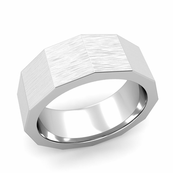 Square Comfort Fit Wedding Ring in Platinum Matte Brushed Finish Band, 8mm