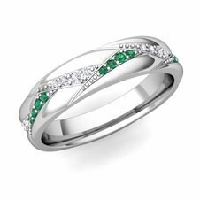 Wave Wedding Band in 14k Gold Diamond and Emerald Ring, 5mm