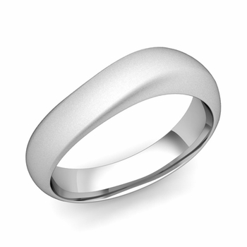 Curved Wedding Band in Platinum Matte Finish Comfort Fit Ring, 6mm