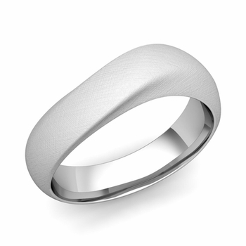 Curved Wedding Band in Platinum Brushed Finish Comfort Fit Ring, 7mm