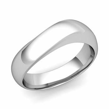 Curved Wedding Band in Platinum Polished Finish Comfort Fit Ring, 7mm