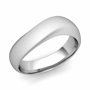 Curved Wedding Band in Platinum Matte Finish Comfort Fit Ring, 7mm