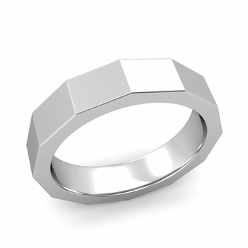 Square Comfort Fit Wedding Ring in 14k Gold Polished Finish Band, 5mm