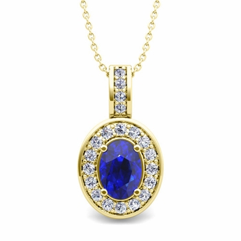 Diamond and Sapphire Cluster Necklace in 18k Gold 7x5mm