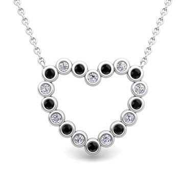 Bezel Black and White Diamond Heart Necklace in 14k Gold Pendant
