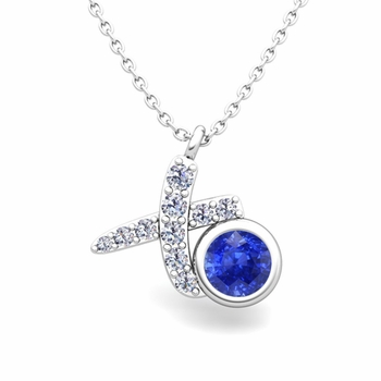Pave Diamond and Solitaire Ceylon Sapphire in 14k Gold XO Pendant