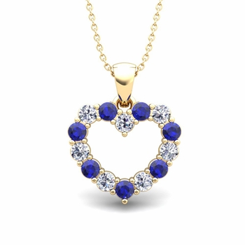 Heart Diamond and Sapphire Necklace in 18k Gold Pendant