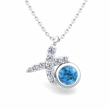 Pave Diamond and Solitaire Blue Topaz in 14k Gold XO Pendant