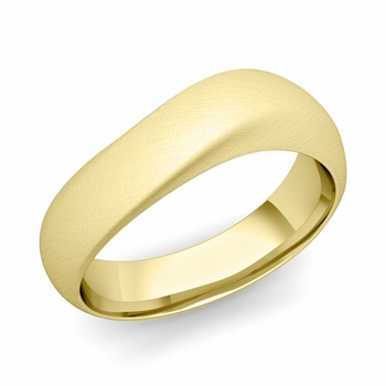 Curved Wedding Band in 18k Gold Brushed Finish Comfort Fit Ring, 7mm