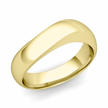 Curved Wedding Band in 18k Gold Polished Finish Comfort Fit Ring, 7mm