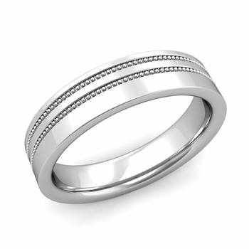 Double Milgrain Wedding Ring in Platinum Comfort Fit Band, Polished Finish, 5mm