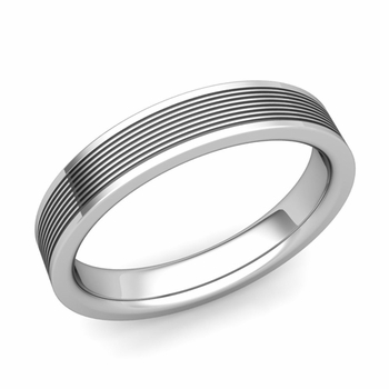 Groove Comfort Fit Mens Wedding Band Ring in Platinum, 4mm