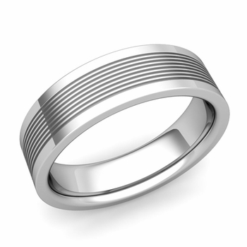 Groove Comfort Fit Mens Wedding Band Ring in Platinum, 6mm