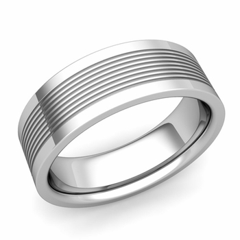 Groove Comfort Fit Mens Wedding Band Ring in Platinum, 7mm