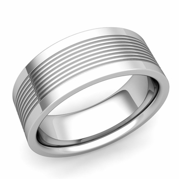 Groove Comfort Fit Mens Wedding Band Ring in Platinum, 8mm