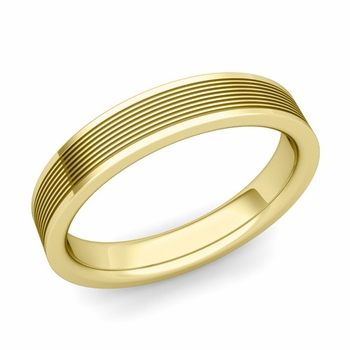 Groove Comfort Fit Mens Wedding Band Ring in 18k Gold, 4mm