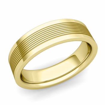 Groove Comfort Fit Mens Wedding Band Ring in 18k Gold, 6mm