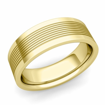Groove Comfort Fit Mens Wedding Band Ring in 18k Gold, 7mm