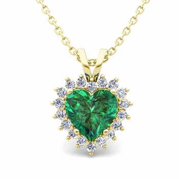 Heart Emerald and Diamond Necklace in 18k Gold Pendant