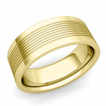 Groove Comfort Fit Mens Wedding Band Ring in 18k Gold, 8mm