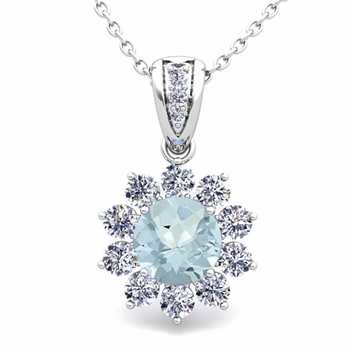 Halo Diamond and Aquamarine Pendant in 14k Gold Necklace 6mm
