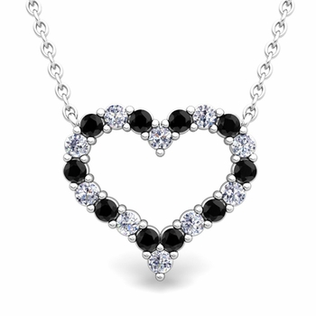 Pave Black and White Diamond Heart Necklace in 14k Gold Pendant