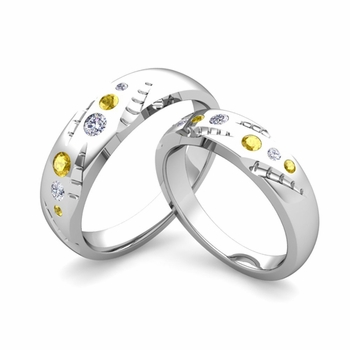 Matching Wedding Ring Set: Flush Set Diamond and Yellow Sapphire Ring in Platinum