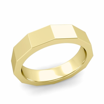 Square Comfort Fit Wedding Ring in 18k Gold Polished Finish Band, 5mm