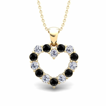 Heart Black and White Diamond Necklace in 18k Gold Pendant